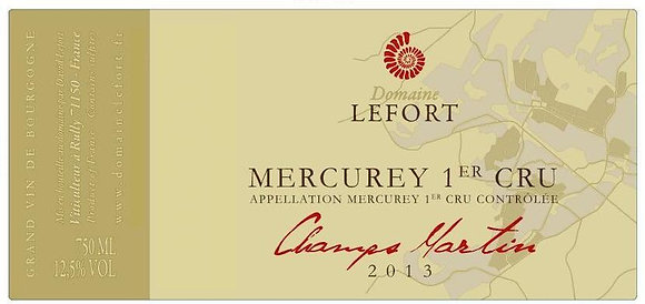 DOMAINE DAVID LEFORT Mercurey 1er Cru Champs Martin 2016 (red wine)