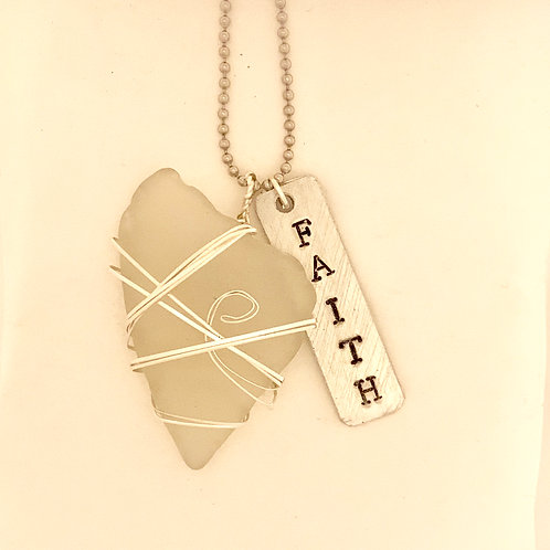 Sterling silver wrapped sea glass necklace -Faith