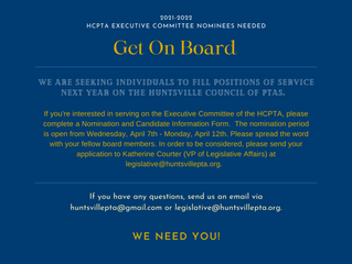 HCPTA Executive Committee Nominees Needed