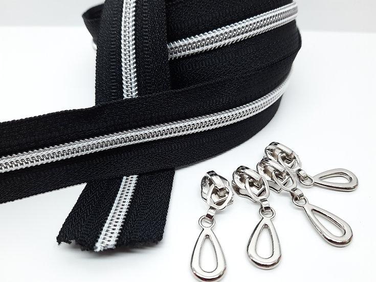 glidelås svart med sølvfarget spiral, metervare