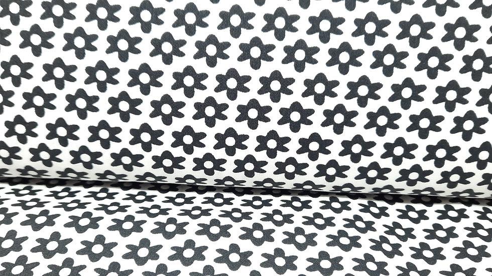 bomullstoff hvit med svarte margeritblomst