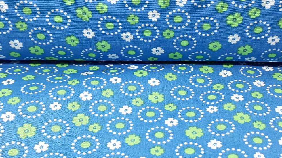 bomullstoff blå med blomster i grønn og hvit