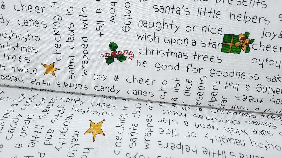 Holly Jolly Christmas svart skrift på hvit, 0,5 m