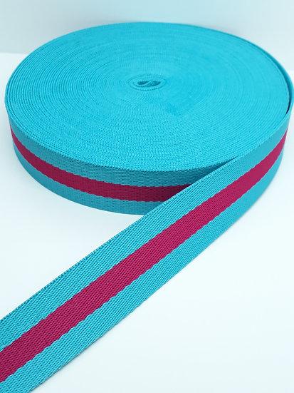 12 meter polyesterbånd med striper blå/pink