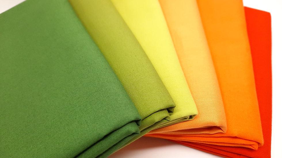 stoffpakke grønn/oransje ensfarget, 6 x 50cm