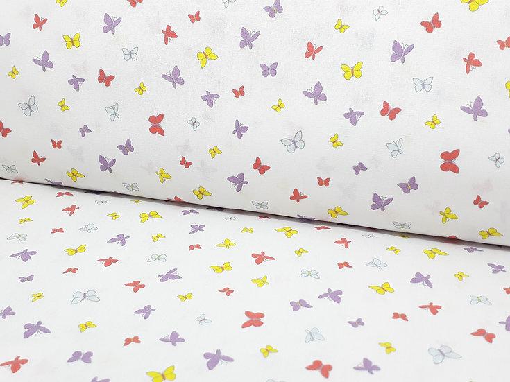 bomullstoff hvit med sommerfugler