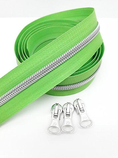 glidelås grønn med sølvfarget spiral, metervare