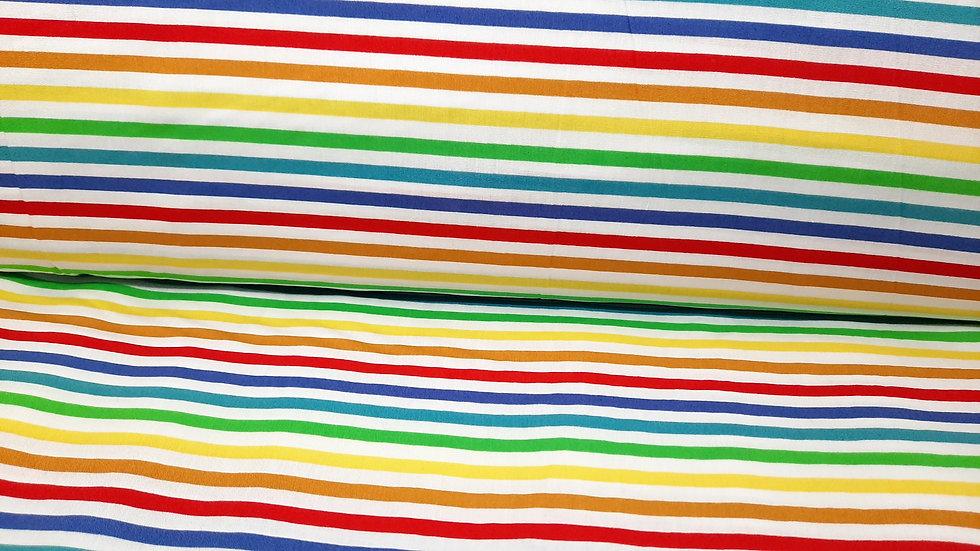 bomullstoff hvit med fargete 5mm striper