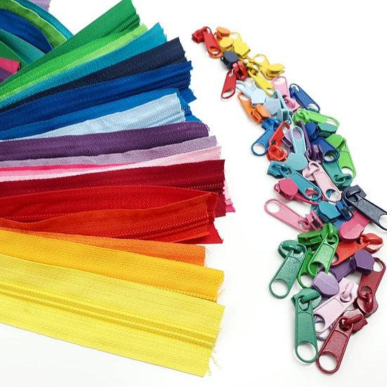 pakke med 50 cm glidelås i 21 farger