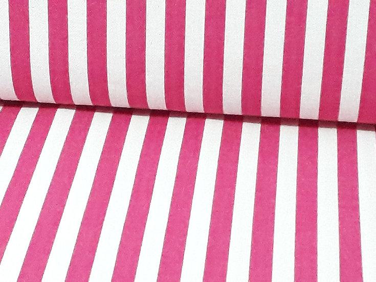 bomullstoff 6mm striper pink
