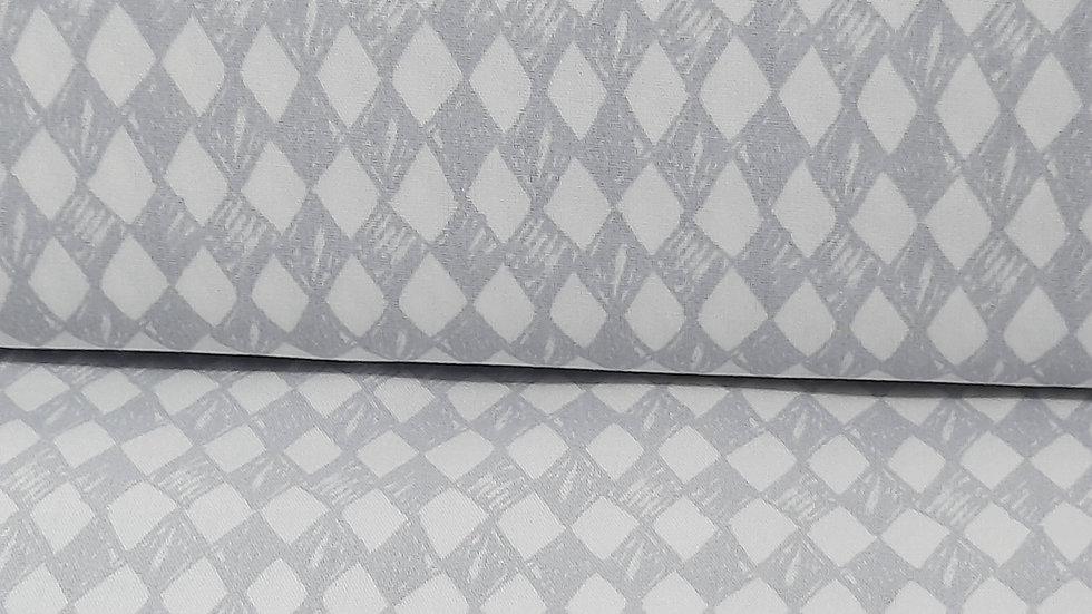 bomullstoff med harlekin ruter i lysegrå/hvit