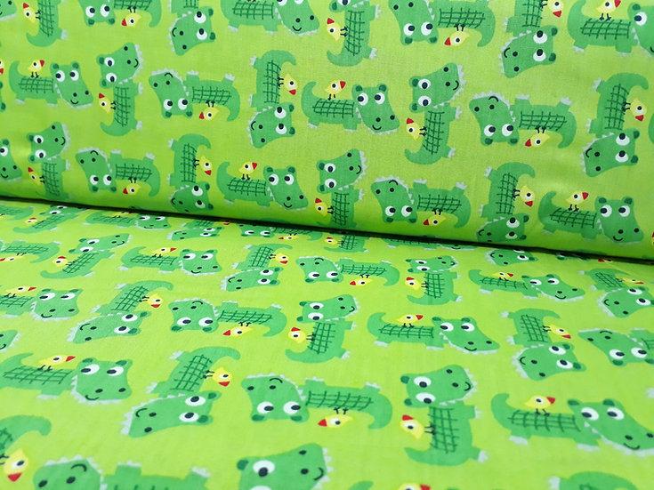 bomullstoff grønn med krokodiller