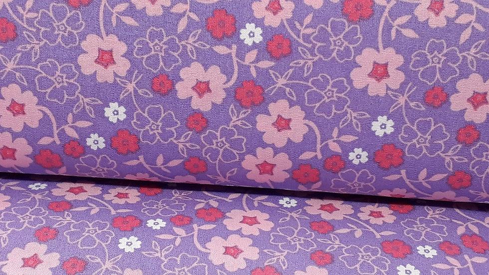 bomullstoff lilla med blomster i rosa og hvit