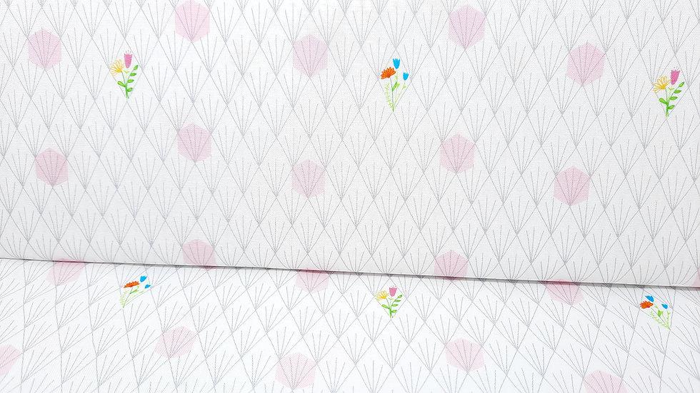 Favorite things Shayla Wolf, blomster på hvit 0,5 m