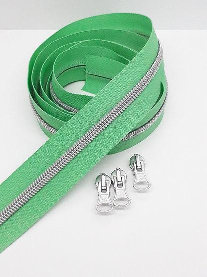 glidelås vårgrønn med sølvfarget spiral, metervare