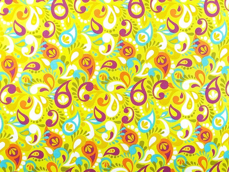 OWLIVIA by Mitzi Powers lilla/oransje/turkis på limegrønn, 0,5 meter