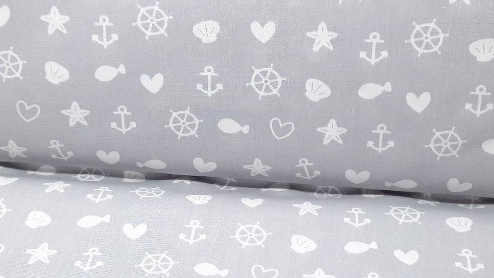 bomullstoff lysgrå med maritime motiver