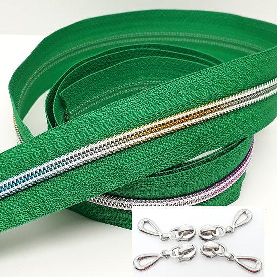 glidelås grønn med regnbuefarget spiral, metervare