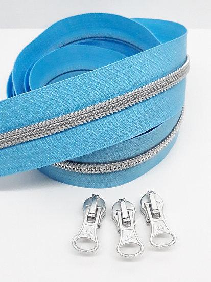 pastell blå glidelås med sølvfarget spiral, metervare