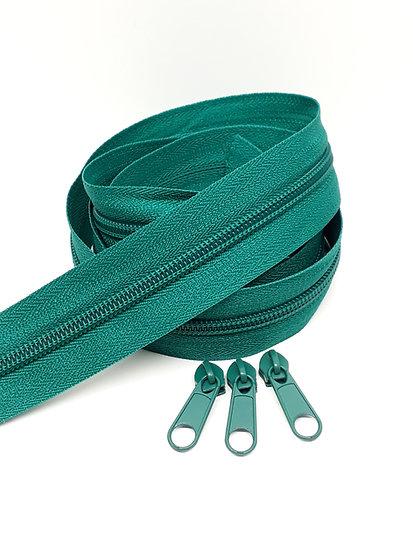 glidelås 5mm spiral, smaragdgrønn
