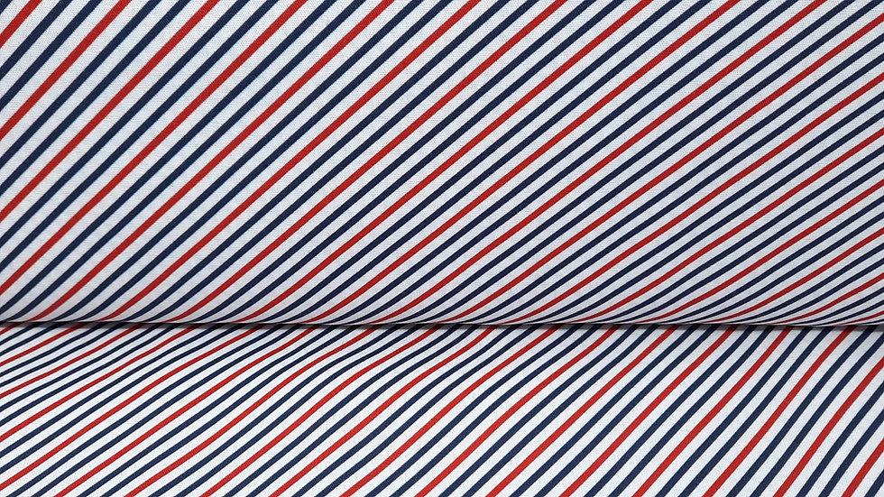 bomullstoff med blå og røde striper