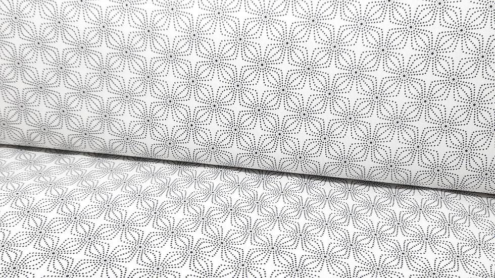 Geo Bloom Greta Lynn, geometrisk mønster svart på hvit, 0,5 m