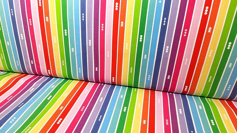 Create Kristy Lea Quiet Play, regnbuestriper på hvit, 0,5 m
