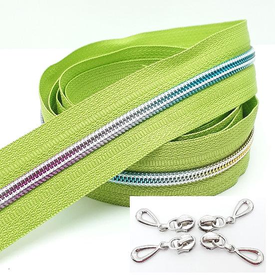 glidelås limegrønn med regnbuefarget spiral, metervare
