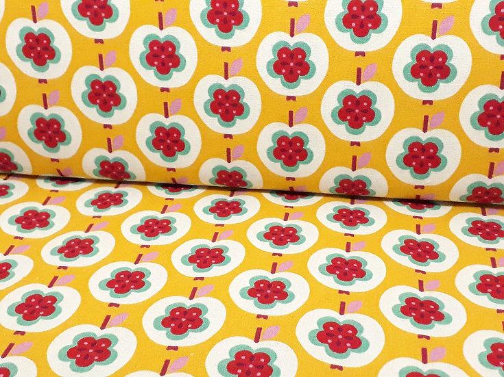 KOKKA kanvas retro epler gul, 0,5 meter