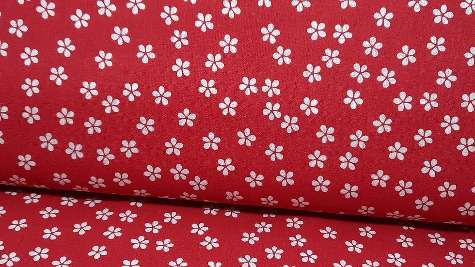 bomullstoff daisy hvit på kraftig rød