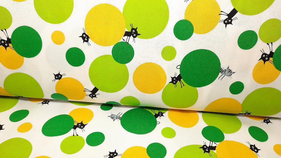 CoCoLand katter med sirkler i grønn og gul, 0,5 meter