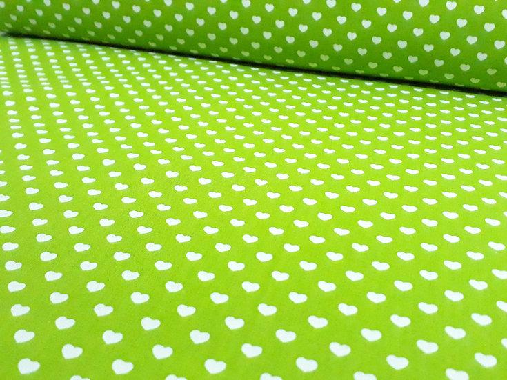 bomullstoff lysegrønn med hvite hjerter 6mm