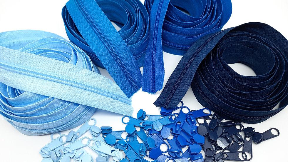 pakke 12m glidelås blå (3 meter i 4 farger)