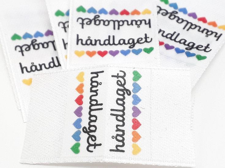 pyntelabel 'håndlaget' med hjerter, 10 stk