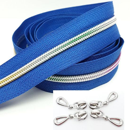 glidelås blå med regnbuefarget spiral, metervare
