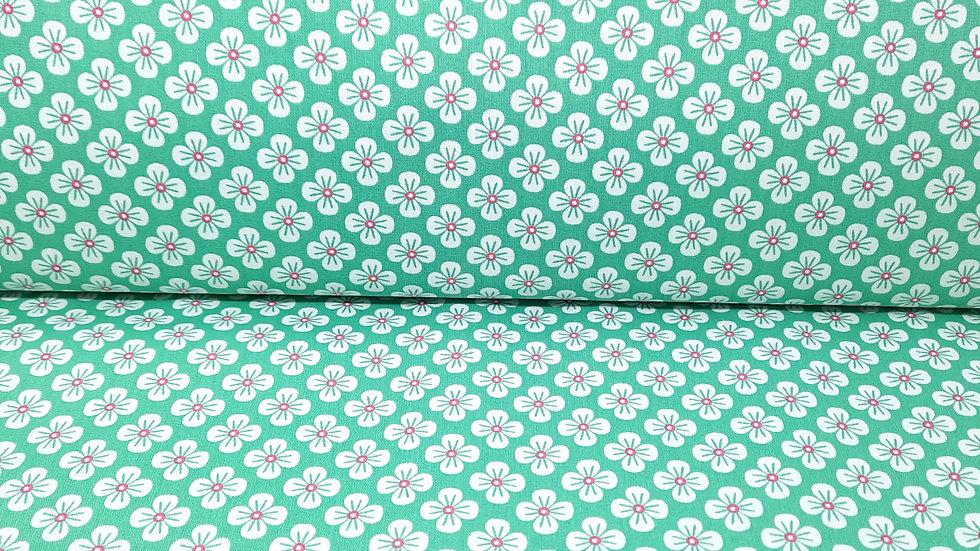 bomullstoff Sweet Japan Flowers, hvit/rosa på grønn