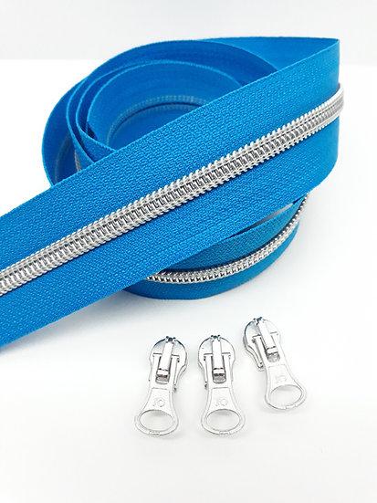 glidelås blå med sølvfarget spiral, metervare