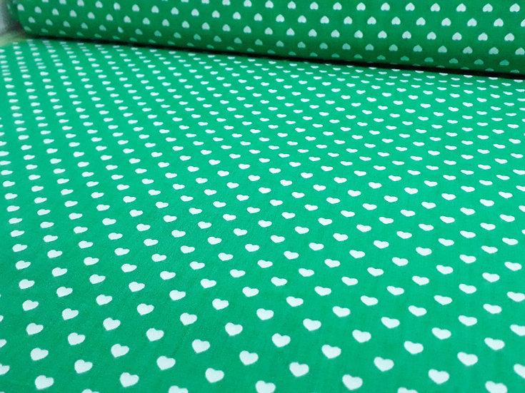 bomullstoff grønn med hvite hjerter 6mm