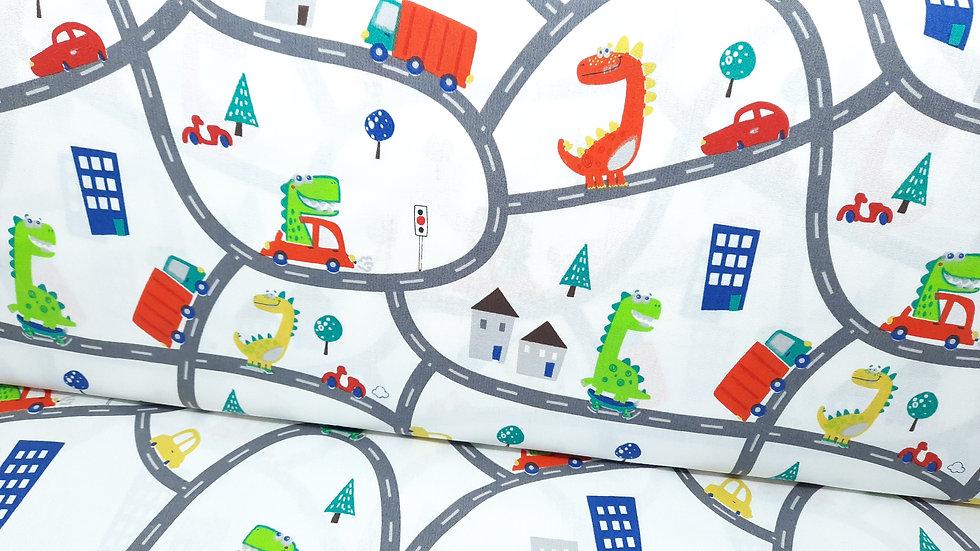 bomullstoff dinosaurer på bilvei