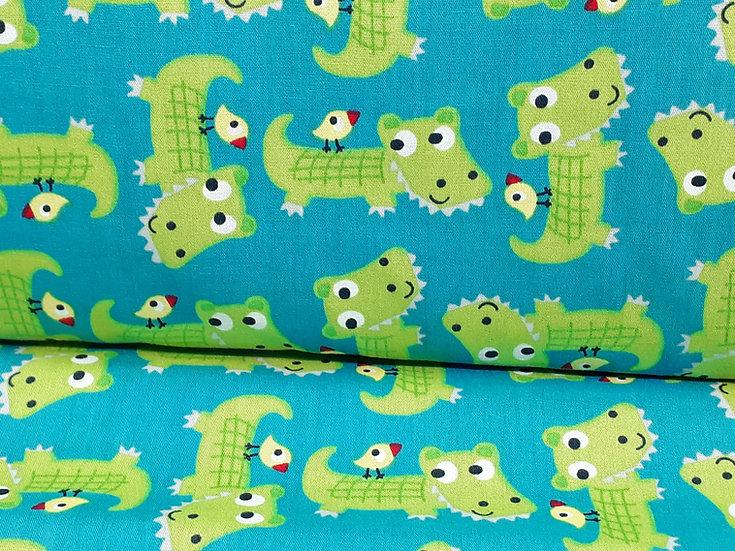 bomullstoff turkis med krokodiller