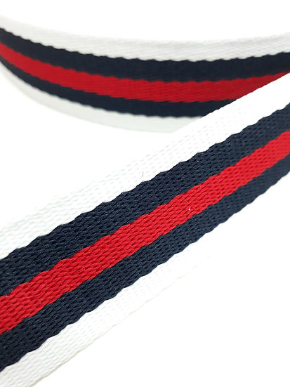 9 meter polyesterbånd med striper i hvit/marineblå/rød