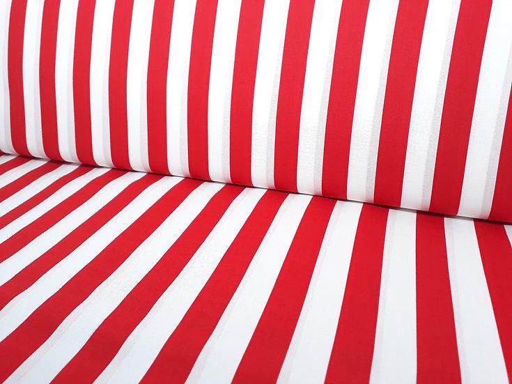 bomullstoff med røde striper