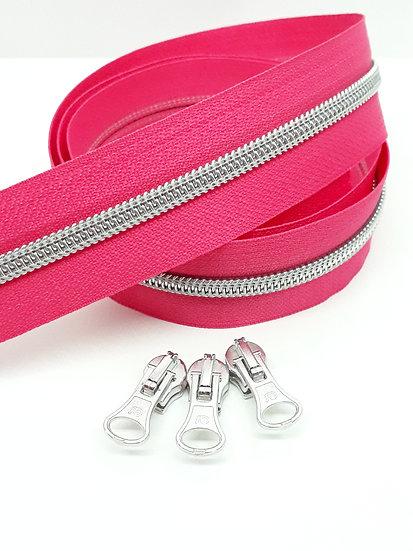 glidelås pink med sølvfarget spiral, metervare