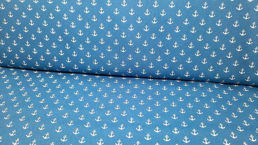 bomullstoff denimblå med hvite anker