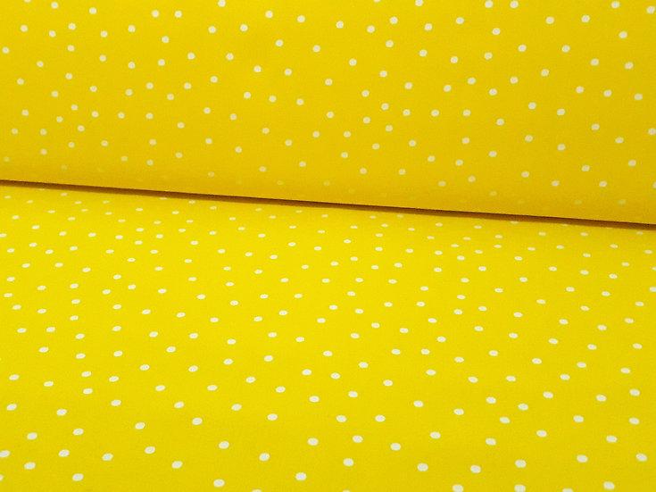 bomullstoff gul med hvite prikker 4 mm