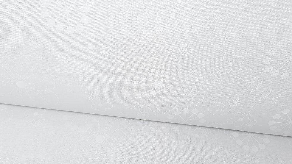 Kimberbell basics Doodles, floral mønster hvit på hvit, 0,5 meter