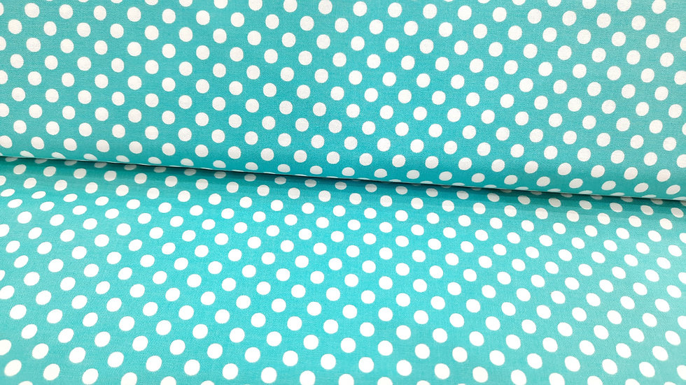Dot.Dot.Dash-! Me & My Sister Designs, prikker hvit på turkis, 0,5 meter