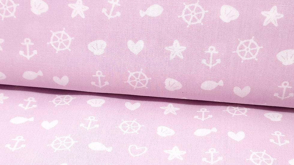 bomullstoff rosa med maritime motiver