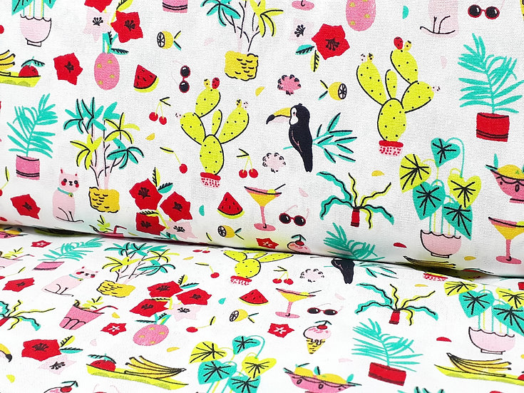 bomullstoff sydenfølelse med papegøyer, kaktuser, iskrem og solbriller