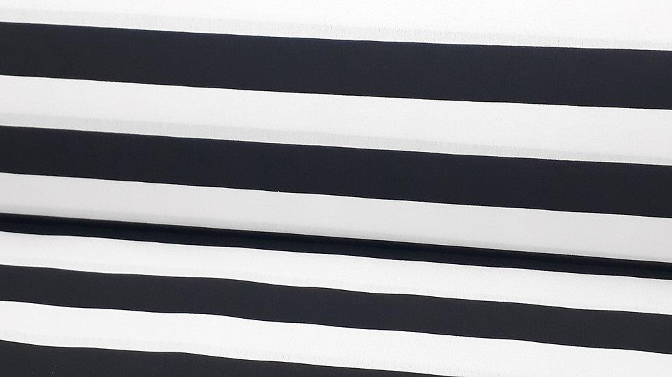 bomullstoff 2,5 cm striper svart/hvit